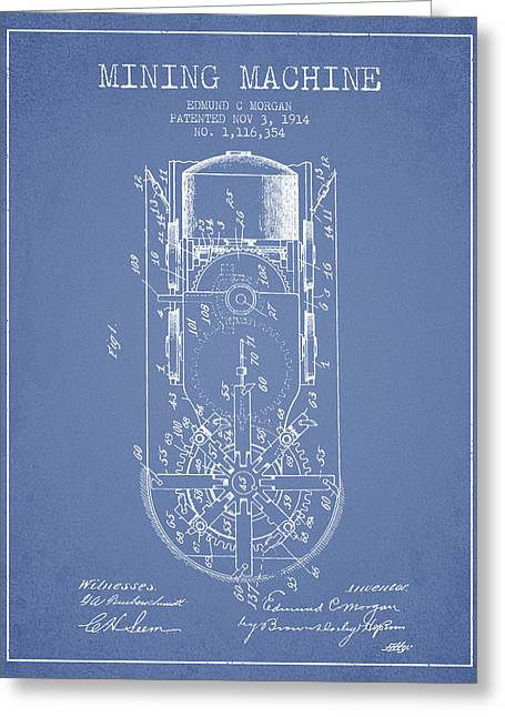 Mine Greeting Cards - Mining Machine Patent From 1914- Light Blue Greeting Card by Aged Pixel
