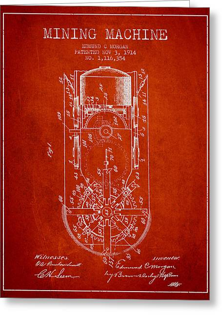 Mine Greeting Cards - Mining Machine Patent From 1914- Red Greeting Card by Aged Pixel
