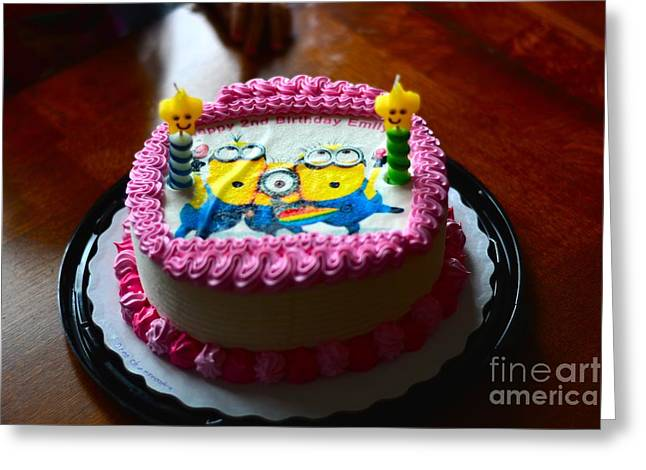 Despicable Me Greeting Cards - Minion Cake Greeting Card by Mike Tobias