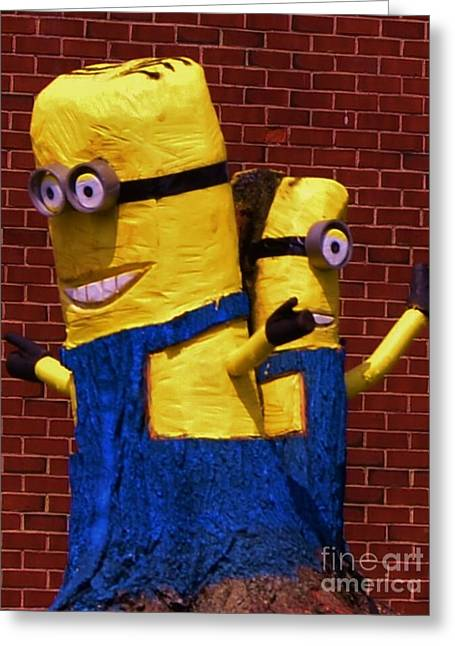 Despicable Me Greeting Cards - Minion Twins Greeting Card by Bob Sample