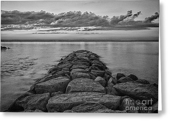 Vineyard Haven Greeting Cards - Mink Meadow Jetty in black and white Greeting Card by Mark Miller