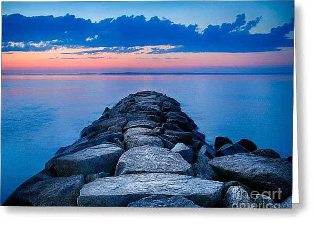 Vineyard Haven Greeting Cards - Mink Meadow Jetty Greeting Card by Mark Miller