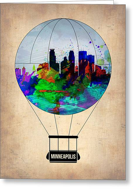 Tourists Greeting Cards - Minneapolis Air Balloon Greeting Card by Naxart Studio