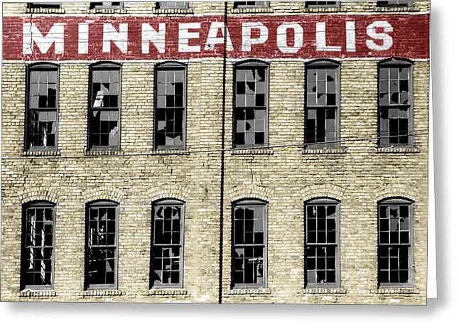 Broken Windows Greeting Cards - Minneapolis Greeting Card by Andrew Fare