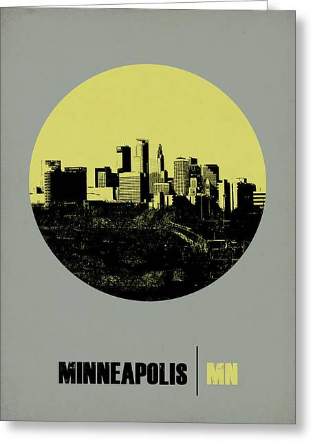 Minneapolis Greeting Cards - Minneapolis Circle Poster 2 Greeting Card by Naxart Studio
