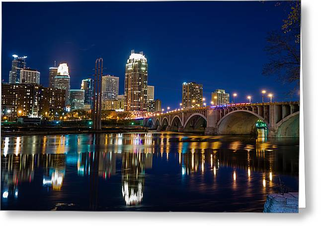 Minneapolis Skyline Greeting Cards - MInneapolis City Lights Greeting Card by Mark Goodman