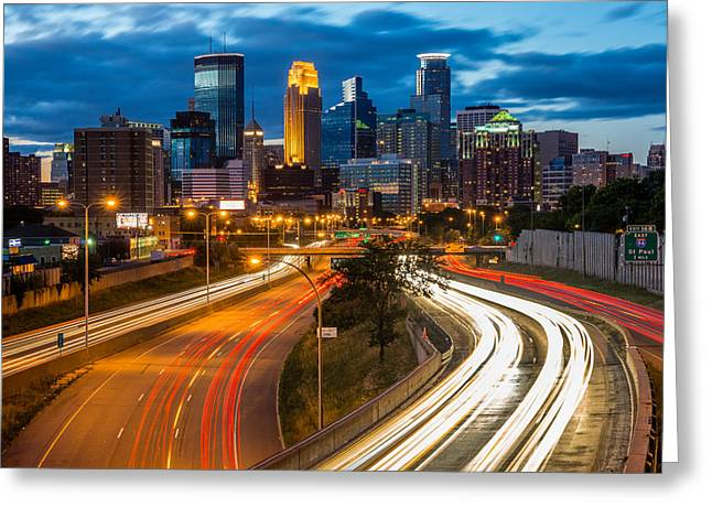 City Lights Greeting Cards - Minneapolis Light Trails Greeting Card by Mark Goodman