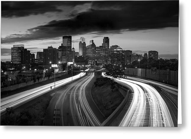 Highway Greeting Cards - Minneapolis  M N Skyline B W Greeting Card by Steve Gadomski