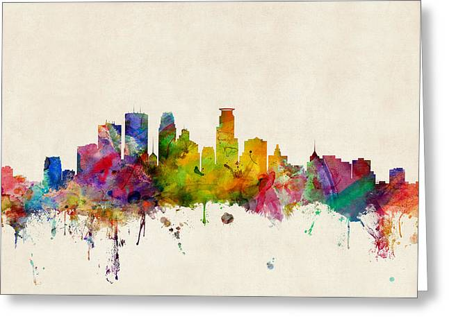 Urban Watercolour Greeting Cards - Minneapolis Minnesota Skyline Greeting Card by Michael Tompsett