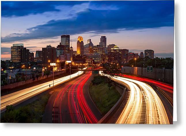 Minneapolis  M N Skyline Greeting Card by Steve Gadomski