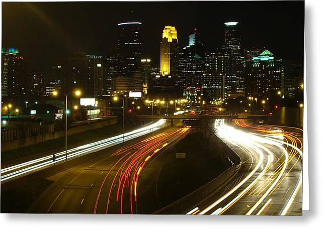 Cityscape Pyrography Greeting Cards - Minneapolis Night Greeting Card by Joseph Hennen