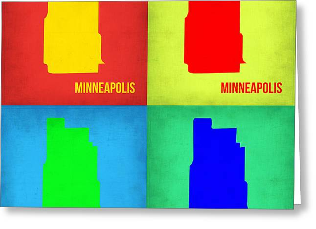Minneapolis Greeting Cards - Minneapolis Pop Art Map 1 Greeting Card by Naxart Studio