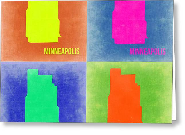 Minneapolis Greeting Cards - Minneapolis Pop Art Map 2 Greeting Card by Naxart Studio