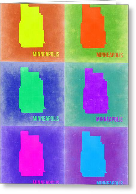 Minneapolis Greeting Cards - Minneapolis Pop Art Map 3 Greeting Card by Naxart Studio