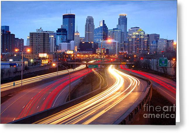 Stones Photographs Greeting Cards - Minneapolis Skyline at Dusk Early Evening Greeting Card by Jon Holiday