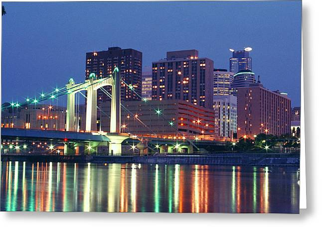 Minneapolis Skyline Greeting Cards - Minneapolis Skyline at Night Greeting Card by Heidi Hermes