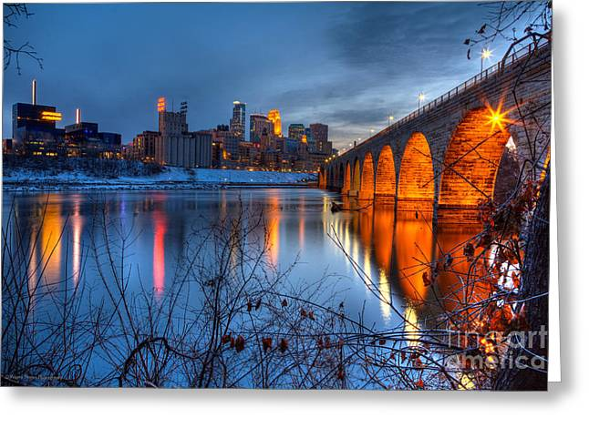 Minneapolis Skyline Images Stone Arch Bridge Spring Evening Greeting Card by Wayne Moran
