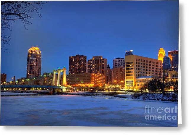 Hennepin Greeting Cards - Minneapolis Skyline Photography Hennepin Avenue Bridge Greeting Card by Wayne Moran
