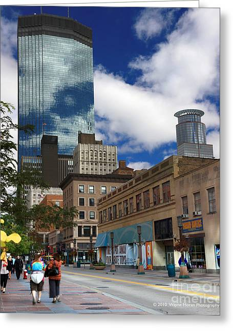 Minneapolis Skyline Greeting Cards - Minneapolis Skyline Photography Nicollet Mall Greeting Card by Wayne Moran