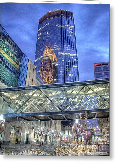 Moran Greeting Cards - Minneapolis Skyline Photography Nicollet Mall Winter Evening Greeting Card by Wayne Moran