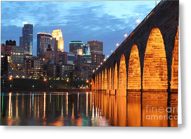 Colored Stones Greeting Cards - Minneapolis Skyline Photography Stone Arch Bridge Greeting Card by Wayne Moran