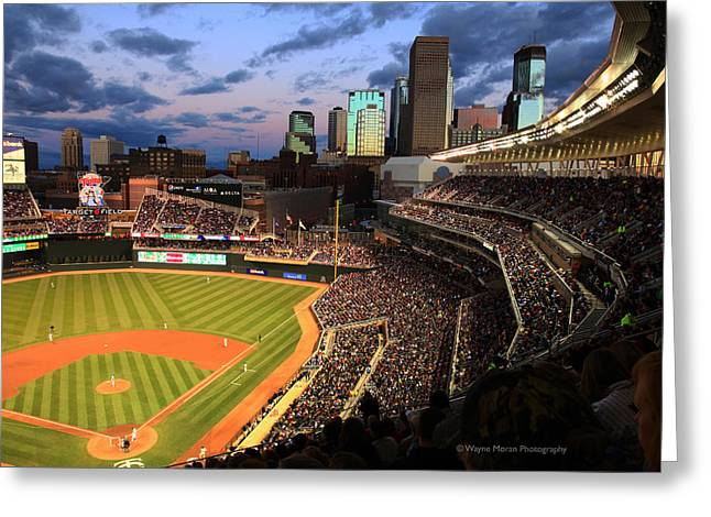 Minneapolis Skyline Greeting Cards - Minnesota Twins Minneapolis Skyline Target Field Greeting Card by Wayne Moran