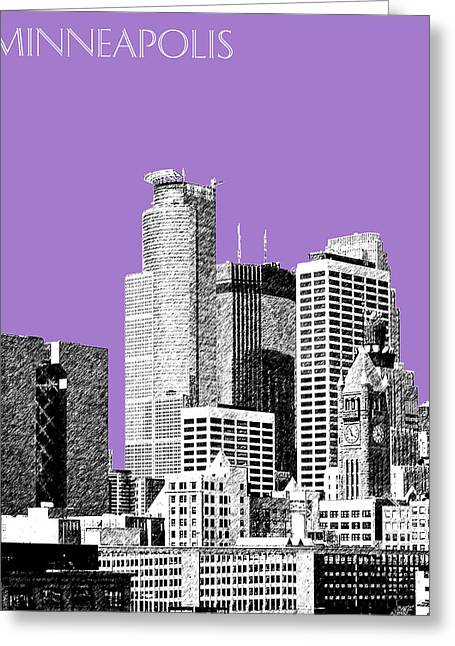 Sketch Greeting Cards - Minneapolis Skyline - Violet  Greeting Card by DB Artist