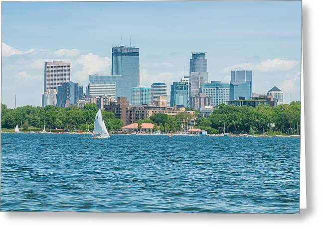 Recently Sold -  - Blue Sailboat Greeting Cards - Minneapolis Skylne over Lake Calhoun Greeting Card by Near and Far Photography
