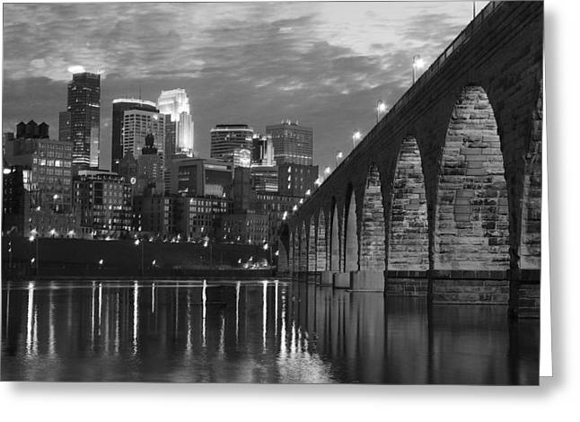Minneapolis Stone Arch Bridge Bw Greeting Card by Wayne Moran