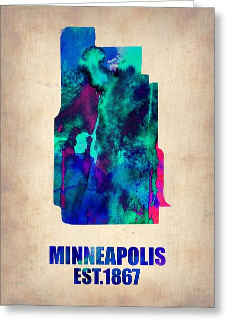 Map Paintings Greeting Cards - Minneapolis Watercolor Map Greeting Card by Naxart Studio