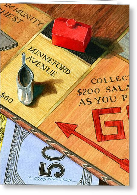 Monopoly Greeting Cards - Minneford Monopoly Greeting Card by Marguerite Chadwick-Juner