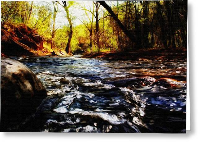 Beautiful Creek Mixed Media Greeting Cards - Minnehaha Creek 3 Greeting Card by Todd and candice Dailey