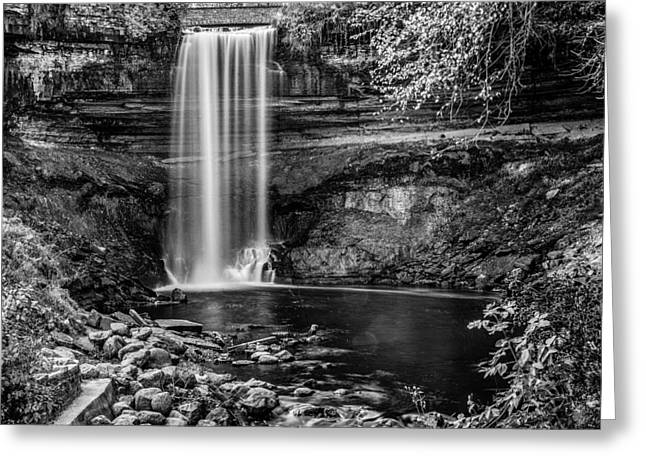 Landmark And Bridges Greeting Cards - Minnehaha Falls Greeting Card by Paul Freidlund
