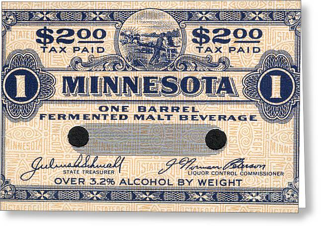 Minnesota Beer Tax Stamp Greeting Card by Jon Neidert