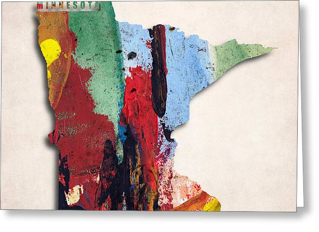 Minnesota Map Art - Painted Map Of Minnesota Greeting Card by World Art Prints And Designs