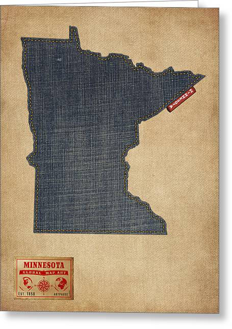 Minneapolis Greeting Cards - Minnesota Map Denim Jeans Style Greeting Card by Michael Tompsett