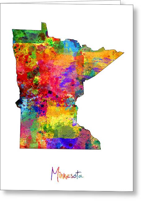 Cartography Digital Greeting Cards - Minnesota Map Greeting Card by Michael Tompsett