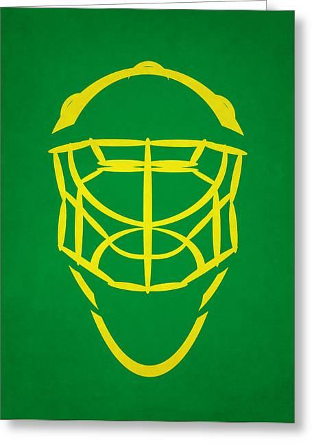North Star Greeting Cards - Minnesota North Stars Goalie Mask Greeting Card by Joe Hamilton