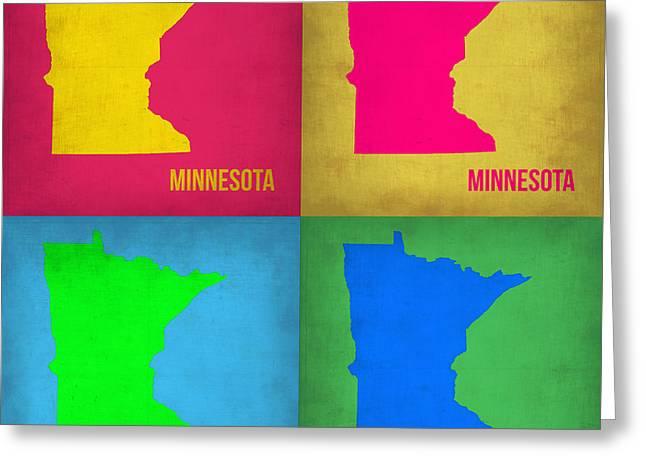 Minnesota Art Greeting Cards - Minnesota Pop Art Map 1  Greeting Card by Naxart Studio