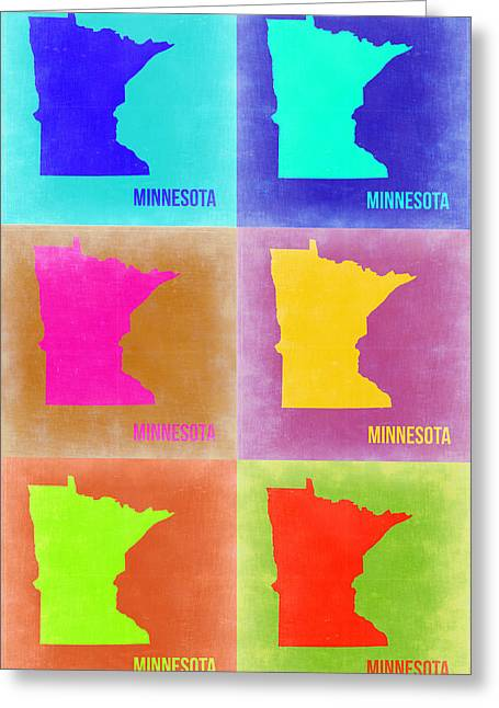 Minnesota Art Greeting Cards - Minnesota Pop Art Map 2 Greeting Card by Naxart Studio