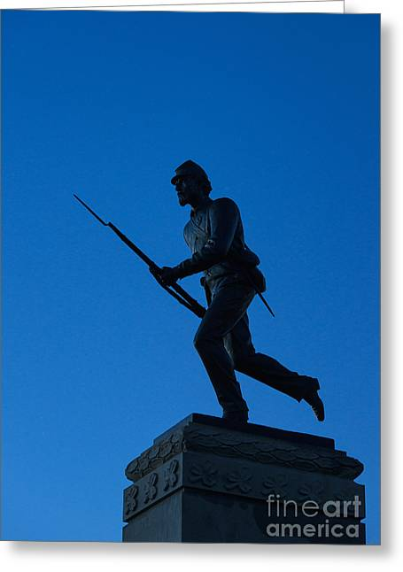 Statue Of Confederate Soldier Greeting Cards - Minnesota Soldier Monument at Gettysburg Greeting Card by John Greim