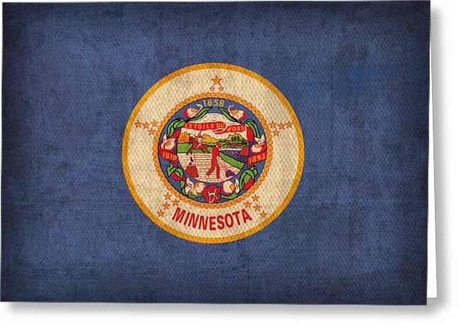 Minnesota Art Greeting Cards - Minnesota State Flag Art on Worn Canvas Greeting Card by Design Turnpike