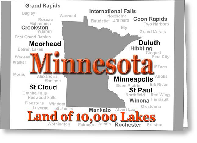 Ely Greeting Cards - Minnesota State Pride Map Silhouette  Greeting Card by Keith Webber Jr