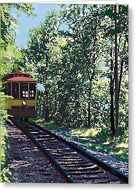 Endorsing Greeting Cards - Como Harriet Streetcar Greeting Card by Marilyn Clare