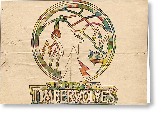 Slamdunk Digital Greeting Cards - Minnesota Timberwolves Retro Poster Greeting Card by Florian Rodarte