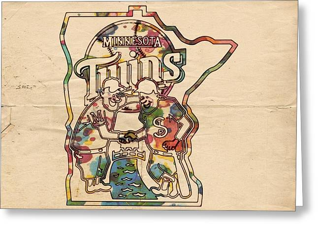 Twins Baseball Greeting Cards - Minnesota Twins Poster Art Greeting Card by Florian Rodarte