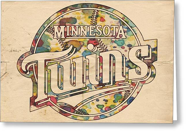 Twins Baseball Greeting Cards - Minnesota Twins Poster Vintage Greeting Card by Florian Rodarte
