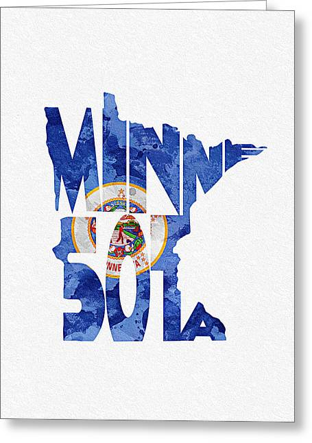 Bizarre Mixed Media Greeting Cards - Minnesota Typographic Map Flag Greeting Card by Ayse Deniz