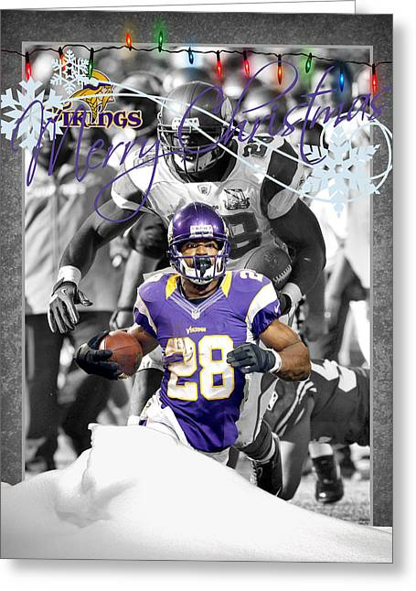 Peterson Greeting Cards - Minnesota Vikings Christmas Card Greeting Card by Joe Hamilton