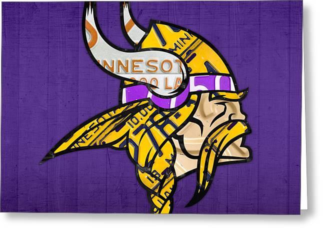 Team Mixed Media Greeting Cards - Minnesota Vikings Football Team Retro Logo Minnesota License Plate Art Greeting Card by Design Turnpike